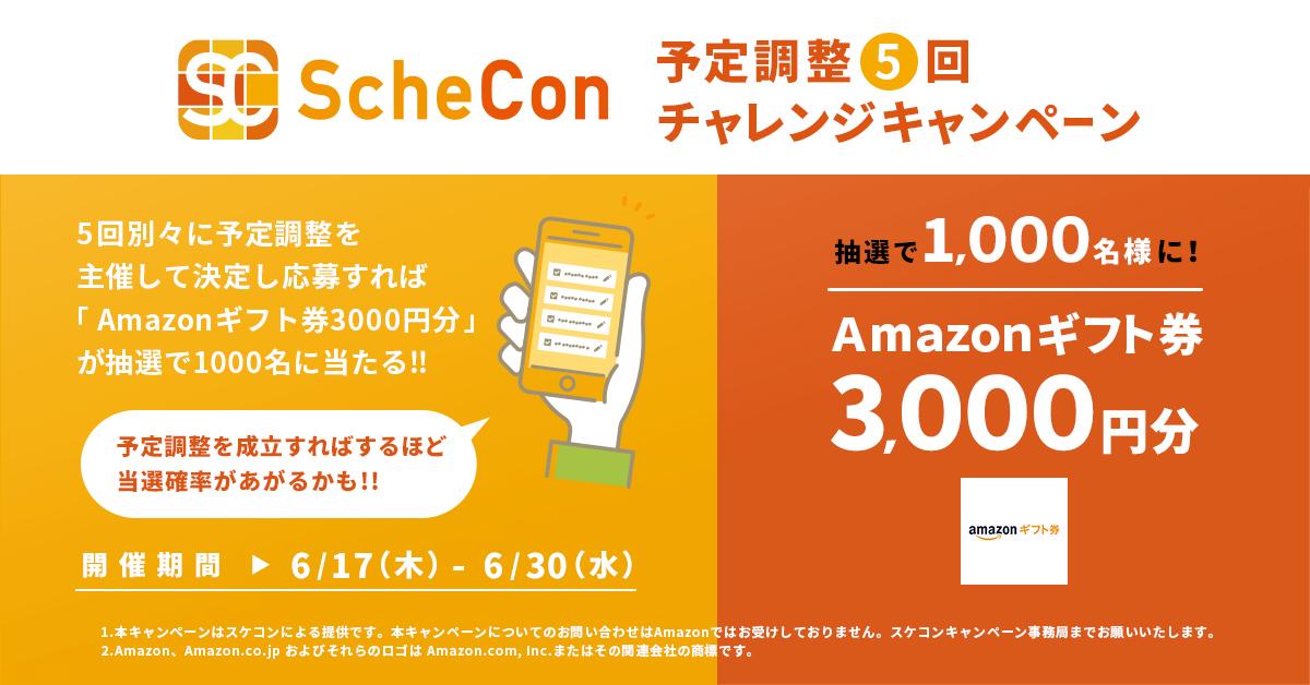 Schecon予定調整5回チャレンジキャンペーン